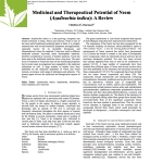 Medicinal and Therapeutical Potential of Neem